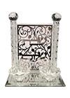 Bougeoir de Chabbath en cristal sur plateau